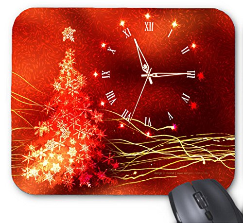 Gaming Mouse Pad Gold Glow Christmas Clock and Chrismas Tree for Desktop and Laptop 1 Pack 22x18cm/7x8.66inch