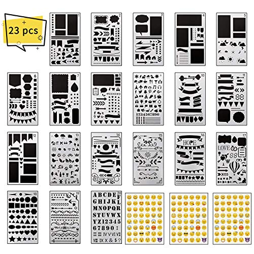 XCOZU Journal Plantillas Set, 20 Piezas Journal Stencil y 3 Piezas Emoji Stickers, Plantillas de Dibujos Plastico para Niños para Pintar en Tela, 4x7 Inches Plantillas Scrapbooking Bonitas