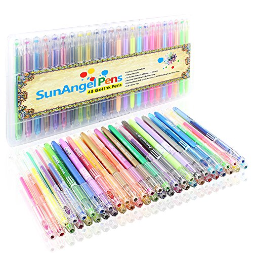 SunAngel 48 Colors Gel Ink Pen,Vibrant Colors Including 12 Pastel, 12 Neon, 12 Glitter and 12 Metallic (Pack of 48, 0.8-1.0mm Fine Point)