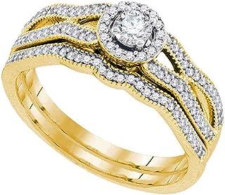 10kt Yellow Gold Round Diamond Milgrain Bridal Wedding Engagement Ring Band Set for Women 3/8 Cttw