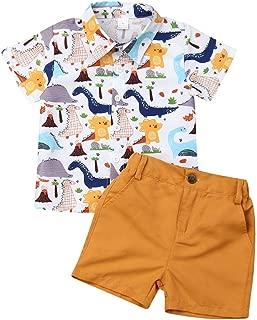 BOIZONTY Toddler Boy Pineapple Outfits Gentleman Bowtie Button-Down Shirt Top + White Shorts Pants Kids Summer Clothes Set