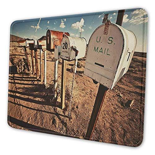 Vereinigte Staaten druckten Mauspad alte Briefkästen in Westamerika ländliche rostige Landschaft Grunge Landschaft Mauspad für Männer lustig braun blau weiß