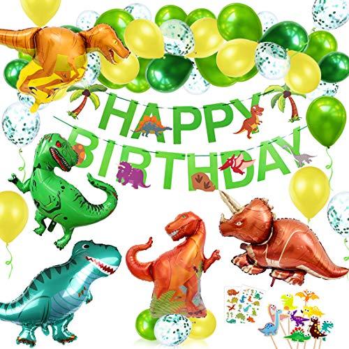 O-Kinee Decoracion Cumpleaños Dinosaurios,Globos de Cumpleaños Dinosaurios,Adornos Cumpleaños Dinosaurios,Guirnalda Feliz Cumpleaños,Fiestas de Dinosaurios Globos (verde)