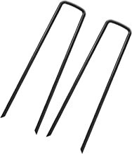 OuYi Garden Staples Landscape Sod Stakes, 100 Pack 6 Inch 11 Gauge Steel Lawn U Pins Pegs - Securing Ground Cover, Weed Barrier Fabric Soaker Hose, Irrigation Tubing Dripper (GardenStaple_B_100_US)