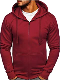 neveraway Men Pockets Basic Zip-up Solid Colored Tracksuit Top with Hood