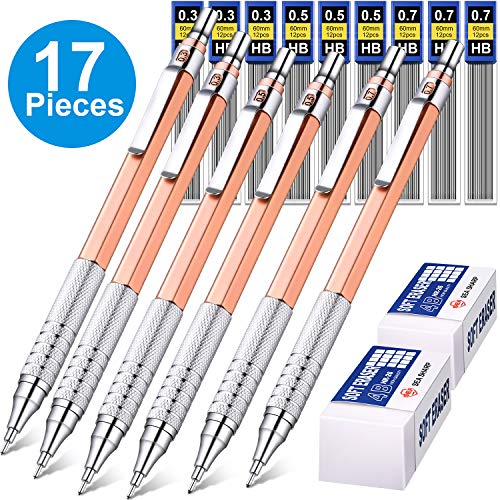 6 Pieces Metal Mechanical Pencils 0.3 mm, 0.5 mm and 0.7 mm Automatic Mechanical Pencils Writing Pencils, 9 Tubes HB Pencil Leads and 2 Pieces Erasers for Writing Draft, Drawing, Sketching (Rose Gold)