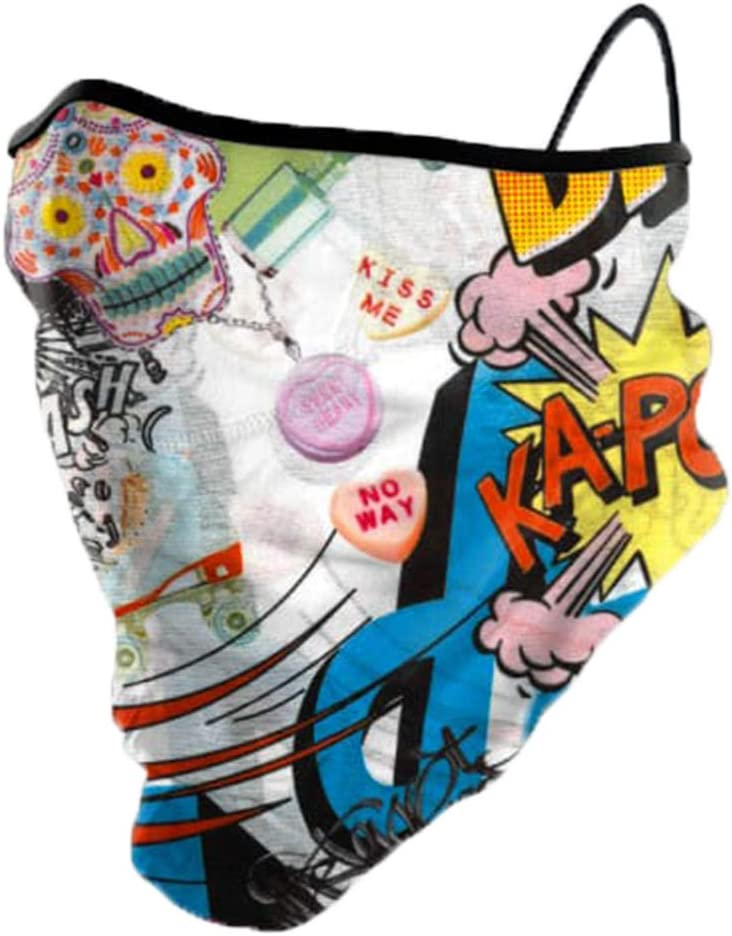 Haberdashery Online Winter Neck Gaiter, Sports Tube Scarf, Cover for Running, Skiing and Snowboarding in Cold Weather. Includes UNE 0065: 2020 mask. Junior Size. Comic