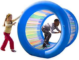 HearthSong Roll With It! Giant Inflatable Colorful Rolling Wheel for Active Outdoor Play, 45