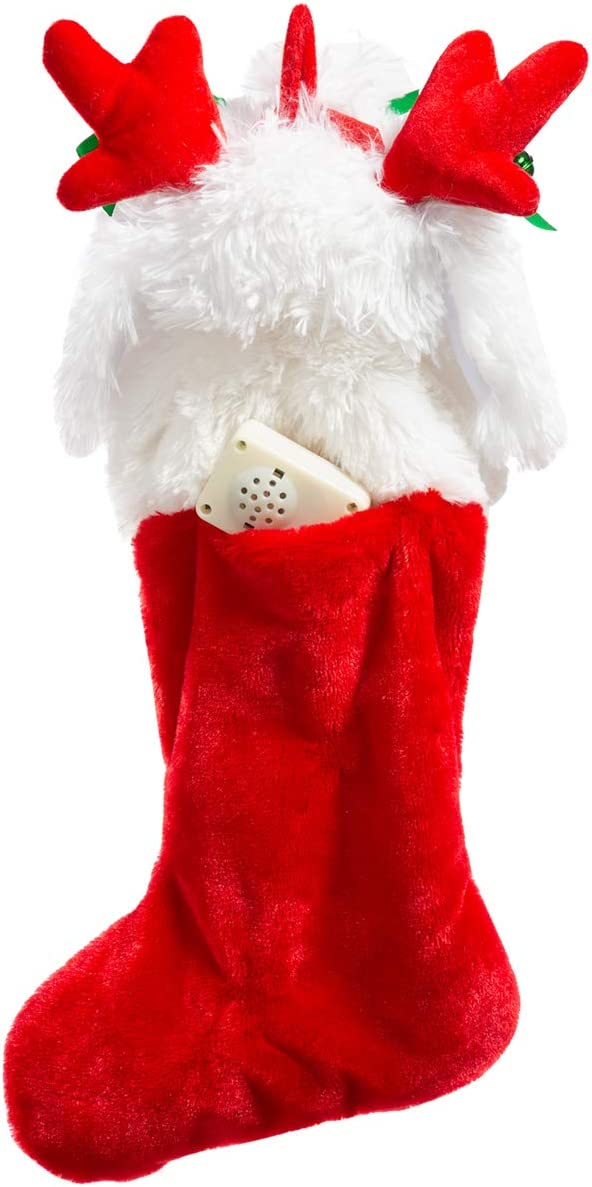 HollyHOME Christmas Stockings Cute Electric Dog Hanging Xmas Decoration Kids Gift Socks Ornament White 19