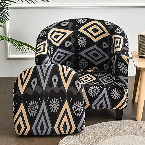 FANSU Sesselschoner Sesselbezug Abstrakt Geometrie Sofabezug, 2-Teilige Stretch Tub Chairs Sesselhussen mit Armlehne, Sesselüberwurf für Clubsessel Loungesessel Cocktailsessel (Mode schwarz)