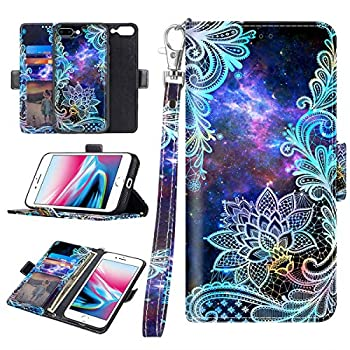 Casetego for iPhone 8 Plus Case,iPhone 7 Plus,Detachable Magnetic Wallet Case PU Leather Full Body Protective Case with Credit Card Holders Wrist Strap for Apple iPhone 8 Plus/7 Plus,Mandala