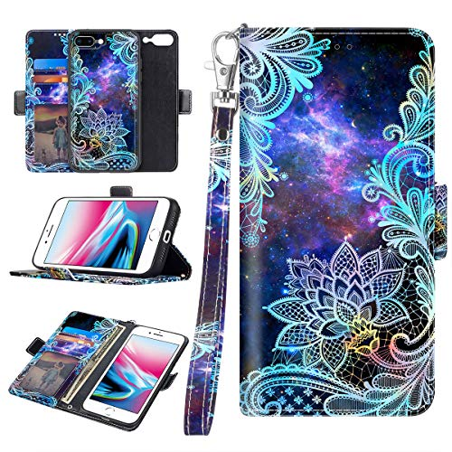 Casetego for iPhone 8 Plus Case,iPhone 7 Plus Case,Detachable Magnetic Wallet Case PU Leather Full Body Protective Case with Credit Card Holders, Wrist Strap for Apple iPhone 8 Plus/7 Plus,Mandala