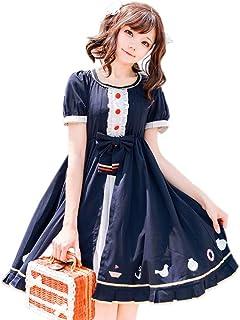 Phyllis A コスチューム ロリィタ 半袖ワンピース メイド ロリィタ服 かわいい ゴスロリ コスプレ衣装 チェック ネイビー (L, ネイビー)