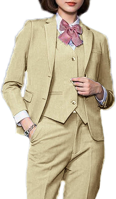 WZW Women's 3 Piece Elegant Business Office Lady Suit Set Wedding Pant Suit