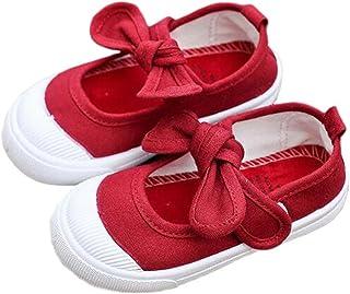 PPXID Chaussures Baskets Tennis Mixte Enfant en Toile -Rouge Fonce 35