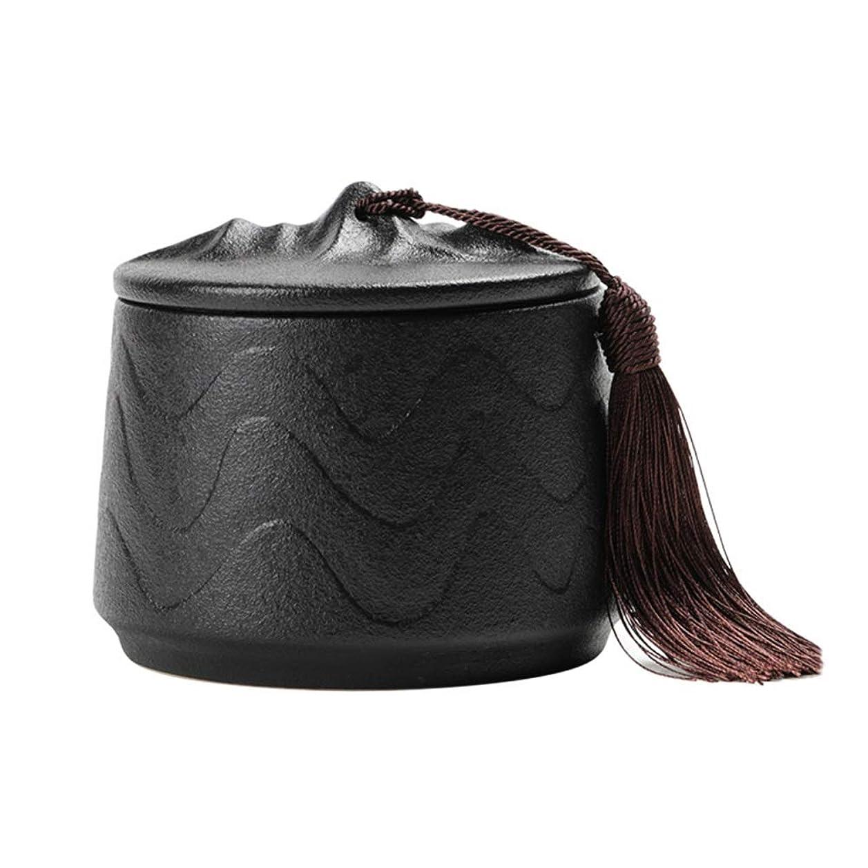 かる恩赦名目上のアッシュ缶 ミニ骨壷火葬大人の子供の灰の貯蔵タンク黒セラミック材料のマットな質感の完璧なお土産、少量の人間の灰 (Color : Black)