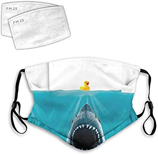 Save Ducky From The Shark Funny Duck Mouth Face Mask Anti Breathable Filter Dust Absorb Sweat Washable Reusable Masks for Cycling Camping Ski Travel Outdoor M