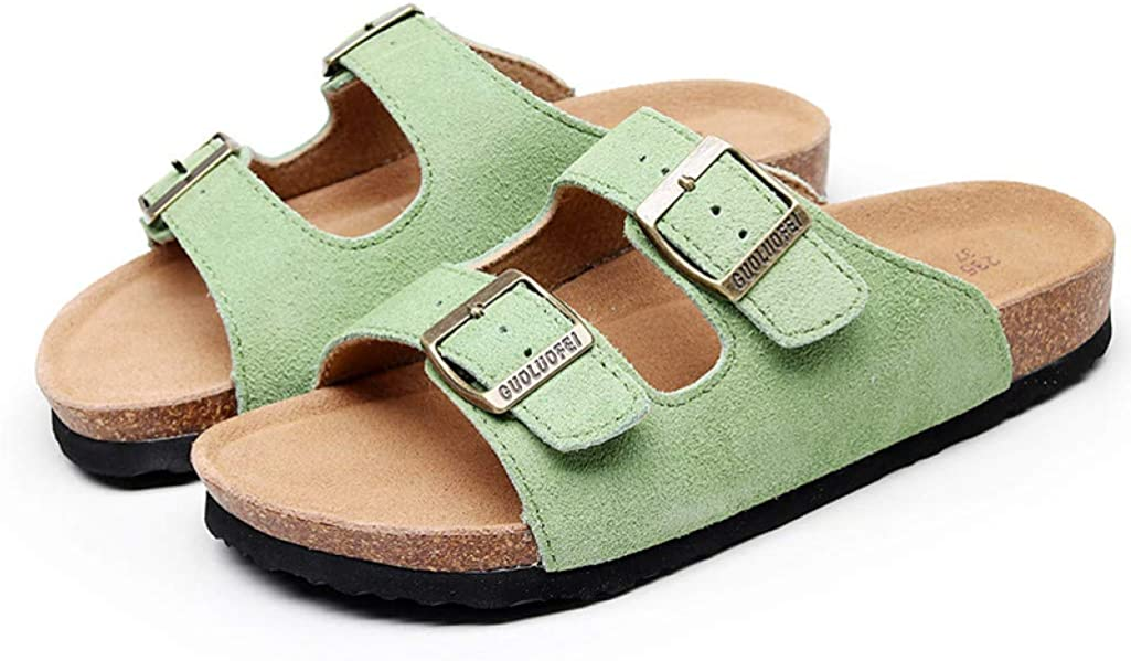 Women Open Toe Cork Slide Sandals Casual Flat Slippers Platform Footbed Adjustable Buckle Strap Sandals