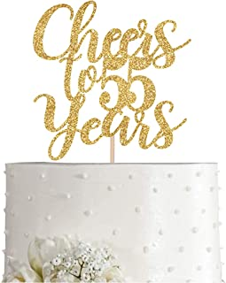 Gold Glitter Cheers to 55 years cake topper, Gold Happy 55th Birthday Cake Topper, Birthday Party Decorations, Supplies