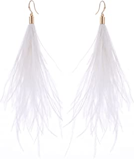 Best white feather earrings Reviews