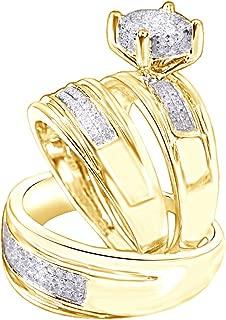 Jewel Zone US White Natural Diamond Engagement & Wedding Trio Band Ring Set in 10k Solid White Gold (0.4 Carat)
