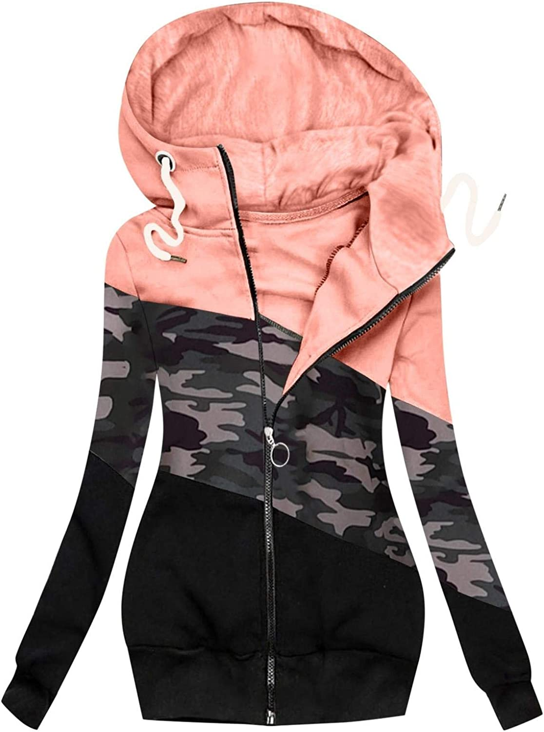 Women Camouflage New item Print Zipper Hoodie and Winter Ho Casual Genuine Autumn