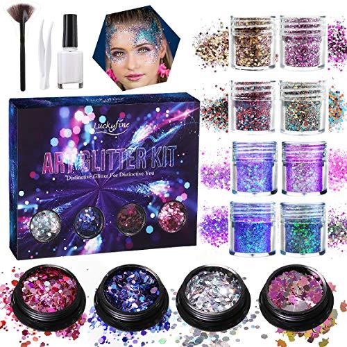 Make Up Glitzer, Luckyfine Glitzer Sequin Chunky Glitter Set für Gesicht, Nägel und Körper, Nail...