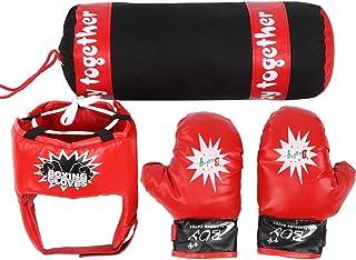 Tbest Kids Boxing Bag, Kids Hanging Fight Training Boxing Sandbag Gloves Helmet Children Punching Bag Set de Regalo para niños o niñas