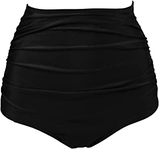 Women's Retro High Waisted Bikini Bottom Ruched Shirred Swim Brief Short Tankinis(FBA)