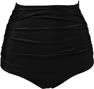COCOSHIP Women's Retro High Waisted Bikini Bottom Ruched Shirred Swim Brief Short Tankinis(FBA)