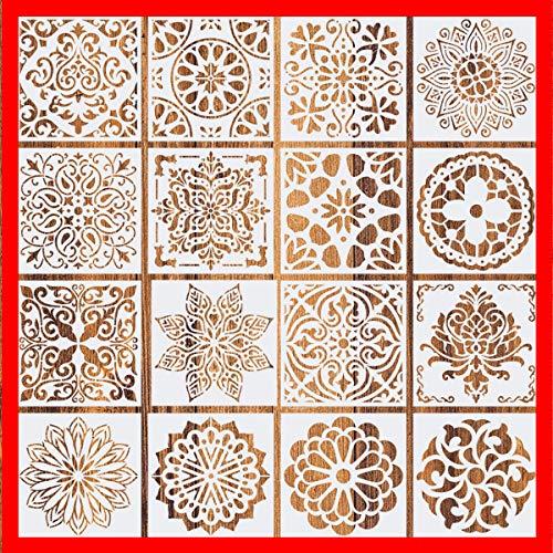 2021 New (6 x 6 inch) Set of 16 - Reusable Mandala Floor Stencil Painting Stencil, Laser Cut Painting Template Floor Wall Tile Fabric Wood Stencils DIY Decor