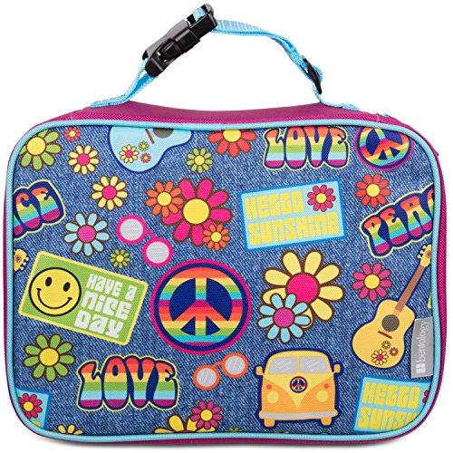 Bentology Lunch Box for Girls - Kids Insulated Lunchbox Tote Bag Fits Bento Boxes - Retro Hippie