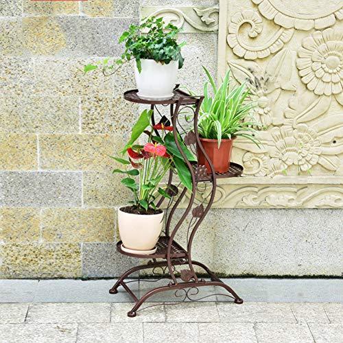 fgdsa Multilayer Indoor Outdoor Schmiedeeisen Boden Blumengestell,Display Pflanzenregal,Stand Floor Flower Pot Rack,Blumenständer Metall Bronze 46x28x80cm(18x11x31inch)