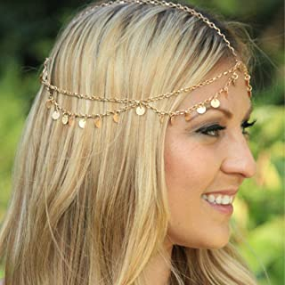 Asooll Gold Layered Festival Headband Festival Headpiece Headdress Headwrap Head Chain with Sequines Prom Custume Accessories for Women and Girls