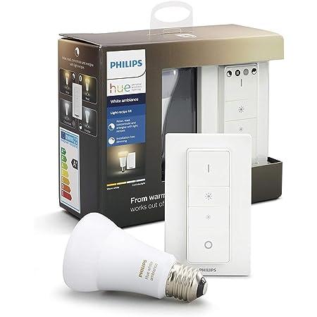 Philips Hue White Ambiance - Set de bombilla LED E27 con interruptor, 6 W, iluminación inteligente, tonos de luz blanca cálida y fría regulable, compatible con Apple Homekit y Google Home
