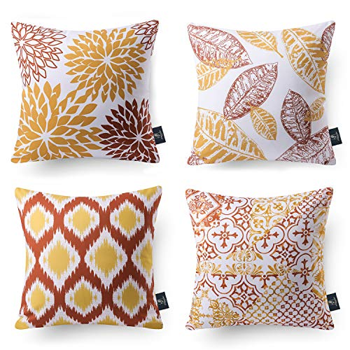 Phantoscope Set of 4 Decoractive New Living Series Orange and Yellow Throw Pillow Case Cushion Cover 18 x 18 inches 45 x 45 cm