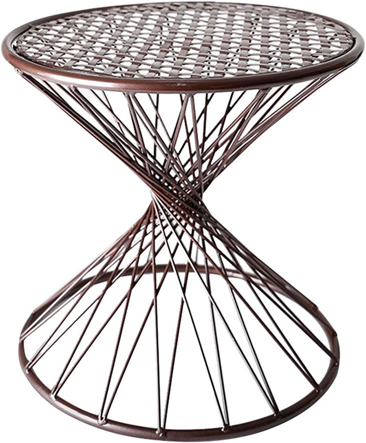 Personality Stool Creative Stool,Strong Load Capacity,Hollow Design,Simple and Modern,Wrought Iron Material,Suitable for Everyone,Suitable for Living Room,Study,Optional (Black,Copper), 30x30cm