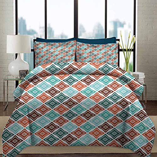 Grunge Duvet Cover Set Twin Size Hand Drawn Style Mosaic Weathered Motifs Bohemian Shapes in Pastel Retro Colors Decorative 3 Piece Bedding Set with 2 Pillow Shams Gift for Teens Kids Multicolor