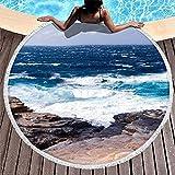 Toalla de Playa Redonda Ultra Suave con Estampado de Paisaje de montaña y océano Azul de fantasía con borlas, Tiro de Cama con Flecos Abstractos, Blanco, 59 Pulgadas, Blanco, 59 PU