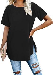 Jescakoo Short Sleeve Loose Pullover Tunic Tops Side Split Plain Shirts