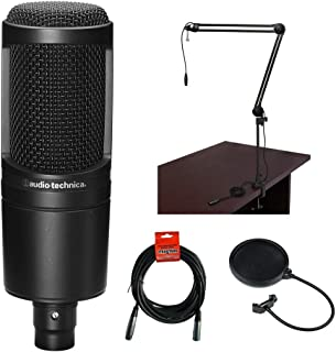 Audio-Technica AT2020 Cardioid Condenser Microphone with BAI-2X Two-Section Broadcast Arm, Pop Filter and XLR Cable