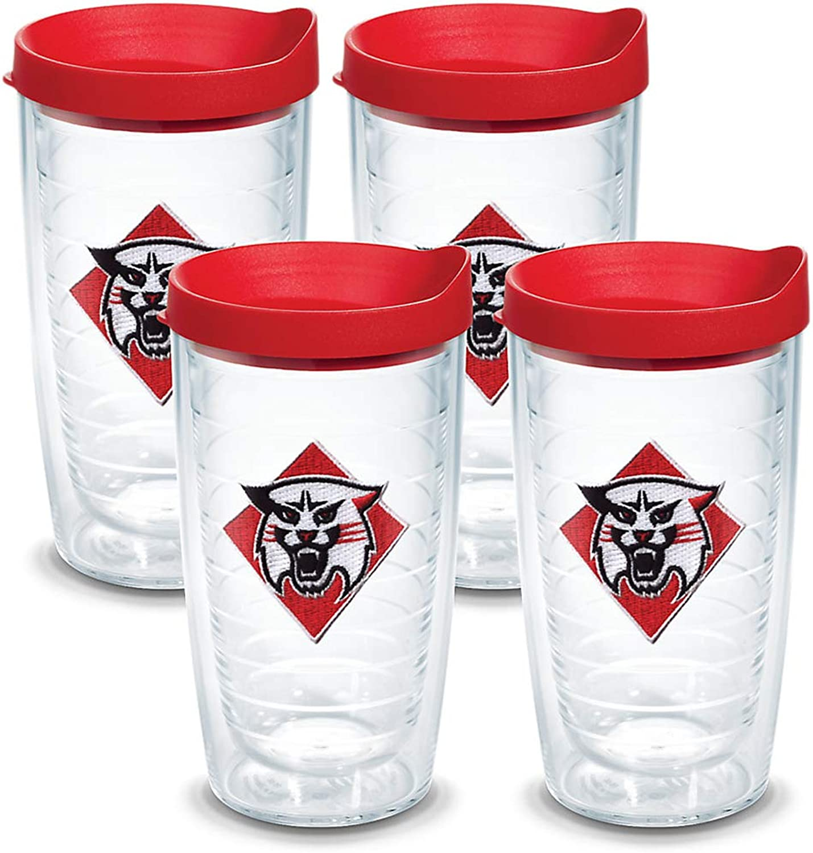 Tervis 1078569 Davidson College Emblem Tumbler with Red lid, Set of 4, 16 oz, Clear