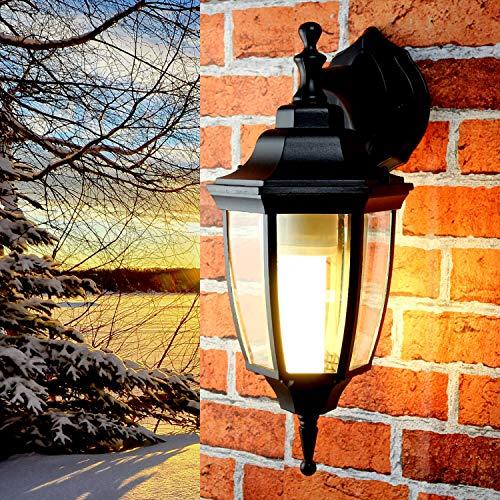 Klassische Außen Wandleuchte Schwarz rustikal E27 H:38cm IP44 Laterne Lampe Balkon Terrasse Hof LYON