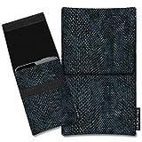 SIMON PIKE Hülle Tasche kompatibel mit Microsoft Surface Duo | Schutztasche Sidney in 01 schwarz Schlange aus Kunstleder Handyhülle