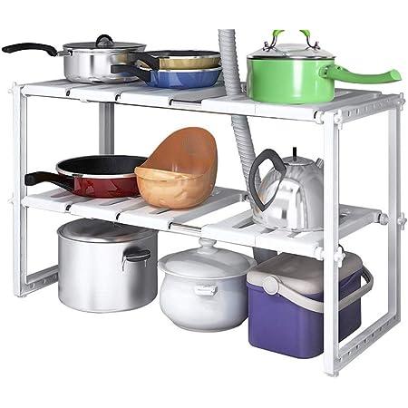 Expandable Kitchen Rack Stainless Steel Adjustable Shelf Home Storage Organizer