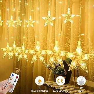 YINUO LIGHT Luces de Cortina, 12 Grandes Estrellas De Baja Tensión Luces De La Cortina con Control Remoto, 8 modos ajustables para Navidad/Boda/Fiesta/Decoraciones de jardín