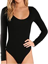 SUNRO Women's Sexy Long Sleeves Round Neck Bodysuits Jumpsuits