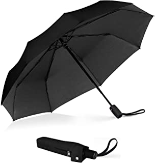 Outdew Compact Travel Umbrella Windproof - Unbreakable Double Canopy Construction With Teflon Coating Auto Open Close Button umbrellas