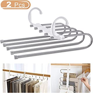 WAOU Massy Pants Hangers Multi-Layer Hanging Pants 5 in 1 Pants Rack Stainless Steel Pants Hangers Folding Storage Rack Space Saver Storage for Trousers Scarf Tie Belt Adjustable(2 Pack) …