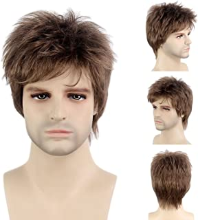 STfantasy Mens Male Guy Wig Short Layered Brown Wavy Cosplay Party Hairpiece Toupee 12 Inches